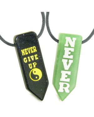 Never Give Up Amulets Love Couples Best Friends Yin Yang Goldstone Green Quartz Arrowhead Necklaces
