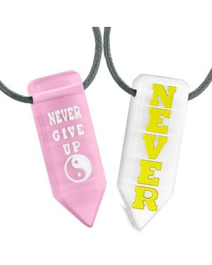 Never Give Up Amulets Couples Best Friend Yin Yang Pink White Simulated Cat Eye Arrowhead Necklaces