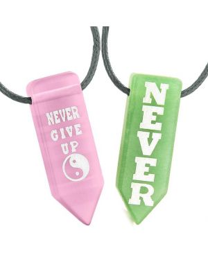 Never Give Up Amulets Couples Yin Yang Pink Simulated Cats Eye Green Quartz Arrowhead Necklaces