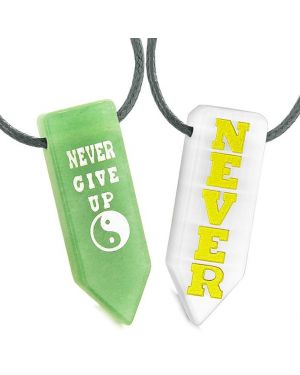 Never Give Up Amulets Love Couples Best Friends Yin Yang Green White Quartz Arrowhead Necklaces