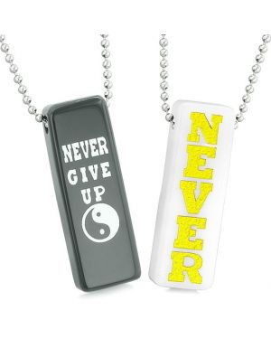 Never Give Up Tags Love Couples or Best Friends Yin Yang Amulets White Quartz Black Agate Necklaces