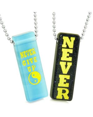 Never Give Up Love Couples Best Friends Yin Yang Amulets Goldstone Blue Simulated Cat Eye Necklaces