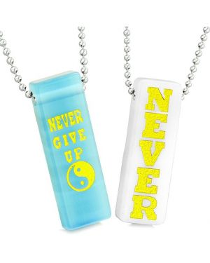 Never Give Up Tags Love Couples Yin Yang Amulets White Quartz Blue Simulated Cats Eye Necklaces