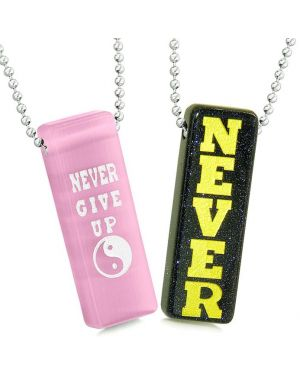 Never Give Up Love Couples Best Friends Yin Yang Amulets Goldstone Pink Simulated Cat Eye Necklaces
