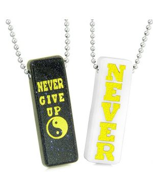 Never Give Up Tags Love Couples Best Friends Yin Yang Amulets Blue Goldstone White Quartz Necklaces