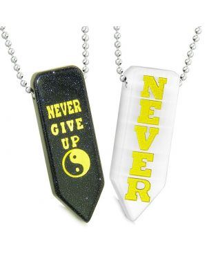 Never Give Up Amulets Yin Yang Love Couples Goldstone Pink Simulated Cats Eye Arrowhead Necklaces