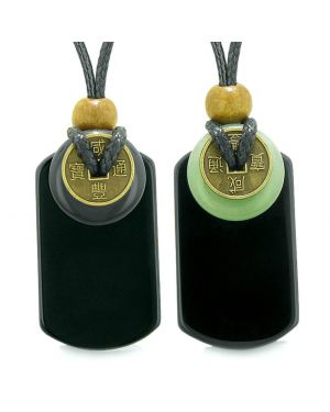 Cool Agate and Green Quartz Lucky Coin Donut Tag Amulets Love Couples or Best Friends Necklaces