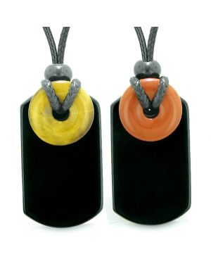 Cool Agate Tag Tiger Eye Red Jasper Lucky Magic Donut Amulets Love Couples or Best Friends Necklaces