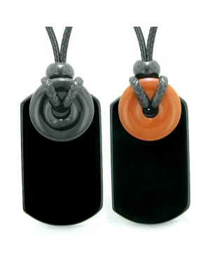 Cool Black Agate and Red Jasper Lucky Magic Donut Tag Amulets Love Couples or Best Friends Necklaces