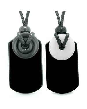 Cool Black Agate and Showflake Quartz Lucky Magic Donut Tag Amulets Love Couples or Best Friend Necklaces