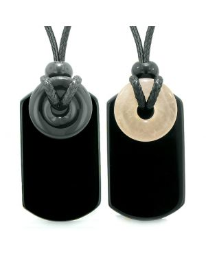 Cool Black Agate and Rose Quartz Lucky Magic Donut Tag Amulets Love Couples or Best Friends Necklaces