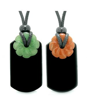 Cool Agate Tag Jasper Green Quartz Lucky Celtic Flower Donut Amulets Couples or Best Friends Necklaces