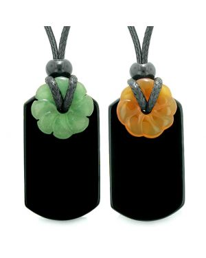 Cool Agate Tag Carnelian Green Quartz Lucky Celtic Flower Donut Amulets Couples or Best Friends Necklaces