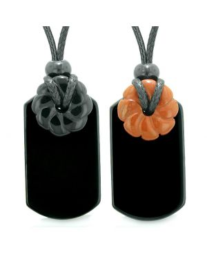 Cool Black Agate Red Jasper Lucky Celtic Flower Donut Tag Amulets Love Couples or Best Friends Necklaces