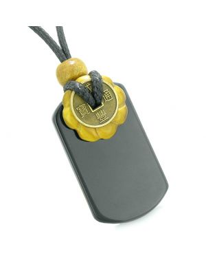 Cool Black Agate Tag and Tiger Eye Lucky Coin Celtic Donut Amulet Magic Powers Pendant Necklace