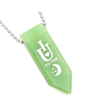 I Love You to the Moon and Back Reversible Amulet Yin Yang Energy Arrowhead Green Quartz Necklace