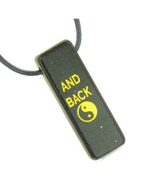 I Love You to the Moon and Back Reversible Yin Yang Amulet Magic Energy Tag Blue Goldstone Necklace