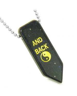 I Love You to the Moon and Back Reversible Yin Yang Amulet Arrowhead Blue Goldstone Necklace