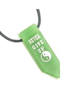Never Give Up Reversible Amulet Yin Yang Balance Energy Powers Arrowhead Green Quartz Necklace