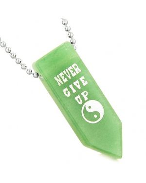 Never Give Up Reversible Amulet Balance Powers Yin Yang Arrowhead Green Quartz Pendant Necklace