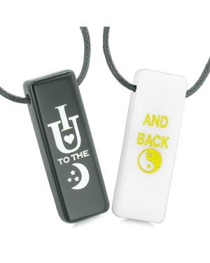 I Love You to the Moon and Back Amulets Love Couples Best Friends White Quartz Agate Necklaces