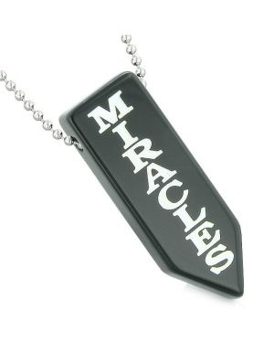 Have Faith Believe in Miracles Reversible Yin Yang Energy Amulet Arrowhead Black Agate Necklace