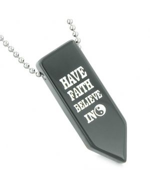 Have Faith Believe in Miracles Reversible Amulet Yin Yang Energy Arrowhead Black Agate Necklace