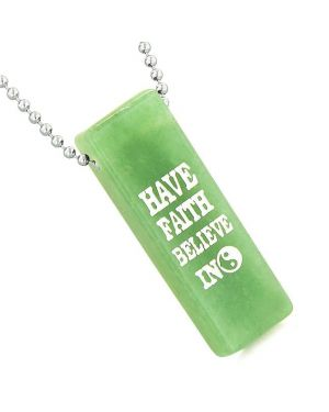Have Faith Believe in Miracles Reversible Amulet Yin Yang Energy Tag Green Quartz Pendant Necklace