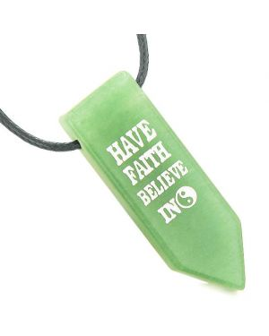 Have Faith Believe in Miracles Reversible Amulet Yin Yang Arrowhead Green Quartz Pendant Necklace