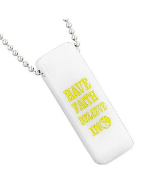Have Faith Believe in Miracles Reversible Amulet Yin Yang Energy Tag White Quartz 18 inch Necklace