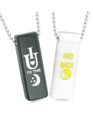 I Love You to the Moon and Back Couples Tag Amulets White Simulated Cats Eye Black Agate Necklaces