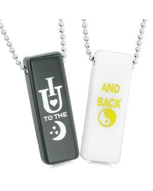 I Love You to the Moon and Back Couples Best Friends Amulets White Quartz Black Agate Tag Necklaces