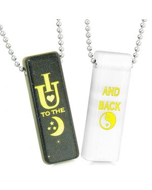 I Love You to the Moon and Back Love Couples Amulet White Simulated Cats Eye Goldstone Necklaces