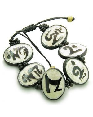 Amulet Original Tibetan Mantra Om Mani Padme Hum Natural White Bone Magic Secret Bracelet