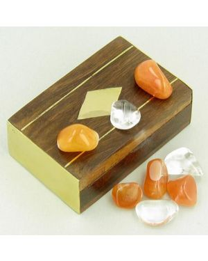 Small Treasure Chest Evil Eye Protection Wish Box with Carnelian