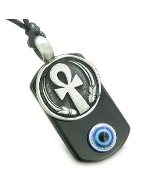 Ankh Egyptian Power of Life Amulet Spiritual Evil Eye Protection Powers Onyx Pendant Necklace