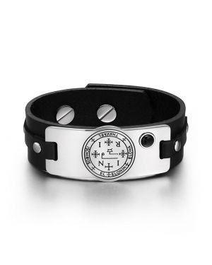 Archangel Thavael Sigil Magic Powers Amulet Tag Simulated Black Onyx Black Leather Bracelet