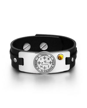 Archangel Thavael Sigil Magic Powers Amulet Tag Tiger Eye Gemstone Black Leather Bracelet