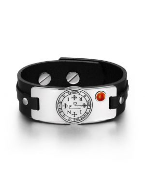 Archangel Thavael Sigil Magic Powers Amulet Tag Red Jasper Gemstone Black Leather Bracelet