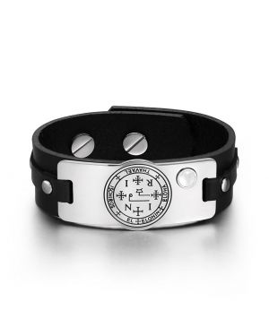 Archangel Thavael Sigil Magic Power Amulet Tag White Simulated Cats Eye Black Leather Bracelet