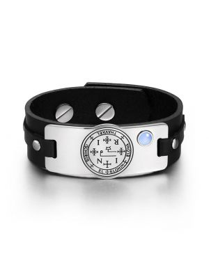 Archangel Thavael Sigil Magic Powers Amulet Tag Blue Simulated Cats Eye Black Leather Bracelet