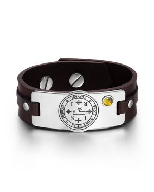Archangel Thavael Sigil Magic Powers Amulet Tag Tiger Eye Gemstone Dark Brown Leather Bracelet
