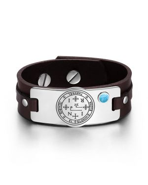 Archangel Thavael Sigil Magic Powers Amulet Tag Simulated Turquoise Brown Leather Bracelet