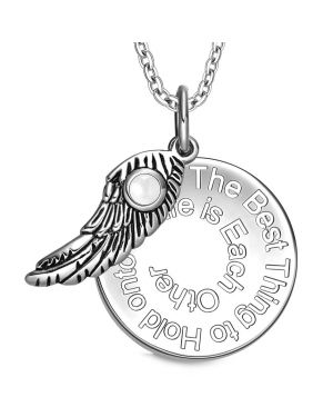 The Best Thing to Hold on to in Life Inspirational Pendant Angel Wing Amulet Necklace