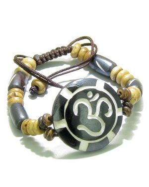 Amulet Original Tibetan OM Positive Energy Magic Circle Sun Natural Carved Lucky Charm Bracelet