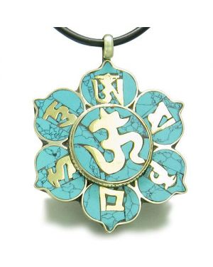 Amulet Tibetan Mantra Ancient Om Mani Padme Hum Turquoise Magic Medallion Lotus Pendant Necklace