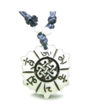 Amulet Original Tibetan Mantra Om Mani Padme Hum Lotus Celtic Shield Knot Magic Pendant Necklace