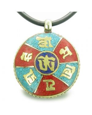 Amulet Double Sided Tibetan Mantra Om Mani Padme Hum Buddha Wheel of Fortune Turquoise Pendant
