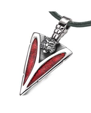 Arrowhead Wild Tiger Head Brave Powers Protection Amulet Sparkling Royal Red Pendant Leather Necklace