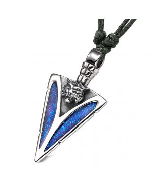 Arrowhead Wild Tiger Head Brave Powers Protection Amulet Sparkling Royal Blue Adjustable Necklace